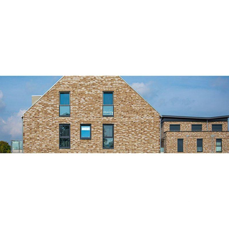 дом облицован белый с коричневым немецкий облицовочный клинкерный кирпич Silbergrau deLuxe - Hoch, NF в Компании Будкерамика Харьков